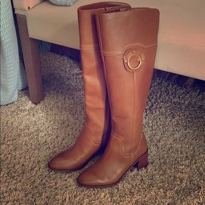 Franco Sarto Caramel Brown Leather Upper Boots